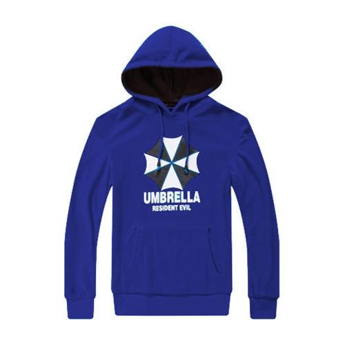 Moda hombres Hoodies paraguas letra impresa mangas largas bolsillo con capucha Jersey sudadera azul real