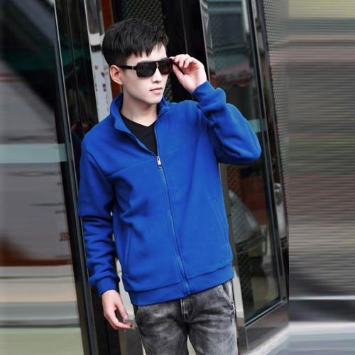 Los hombres de moda fina capa soporte cuello mangas largas cremallera Color sólido chaqueta Casual ropa de abrigo azul