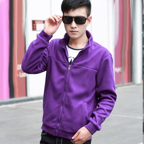 Moda Męska Cienka Kołnierz Stań Kołnierz Long Sleeves Zipper Solid Color Casual Kurtka Outerwear Fioletowy