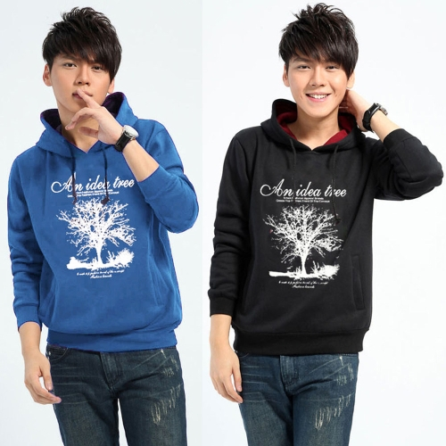 New-Fashion-Men-Hoodies-Tree-Letter-Print-Long-Sleeve-Sport-Casual-Pullover-Tops-Black