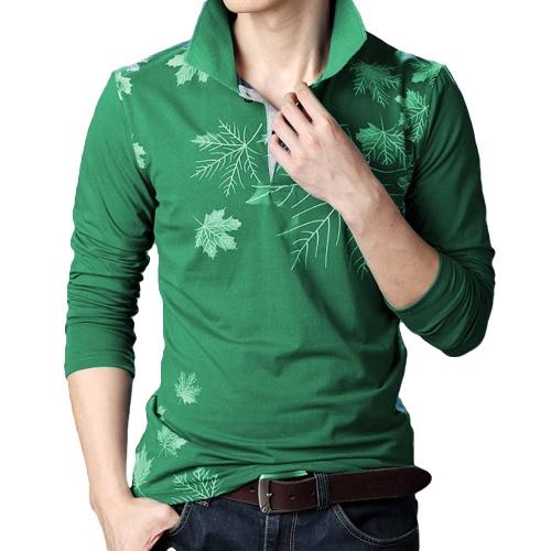 Moda Casual hombres camiseta arce hoja impresión manga larga vuelta abajo tapas delgado cuello