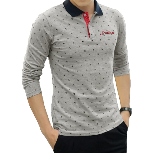 Fashion Casual Men T-Shirt Anchor Print Long Sleeves Turn Down Collar Slim Tops