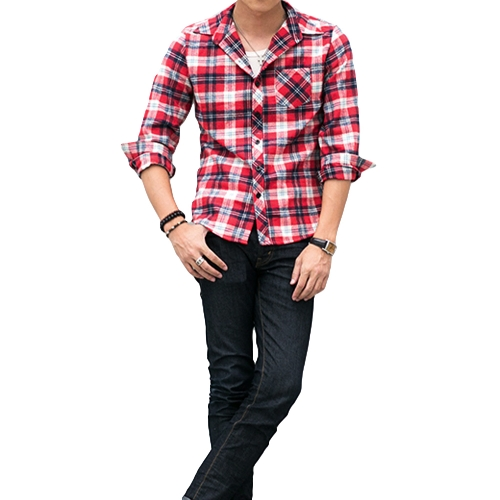 Korean Fashion Men Shirt Plaid Check Pattern Turn-down Collar Long Sleeve Pocket Casual Tops for Couple