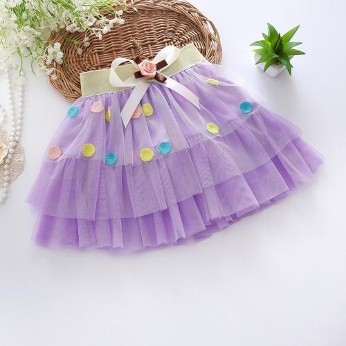 Meninas moda camadas de tule saia cintura elástica arco decorativo bordado ponto padrão crianças crianças Tutu Pettiskirt rosa/roxo/amarelo