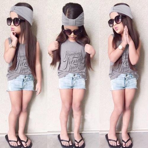 Mode enfants bébé filles tenues ensemble trois pièces impression col rond sans manches bandeau T-Shirt Jeans pantalon gris