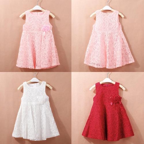 Nueva moda niñas vestido encaje Floarl