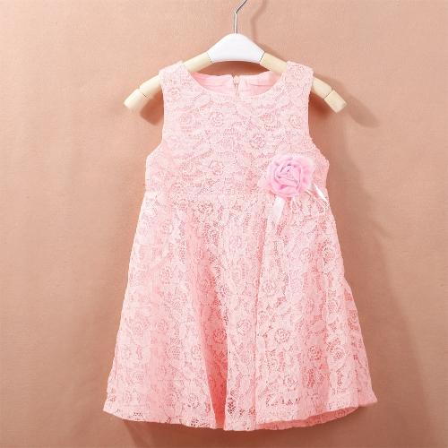 Nueva moda niñas vestido encaje Floarl flor sin mangas salida hueco dulce princesa vestido blanco/rosa/rojo