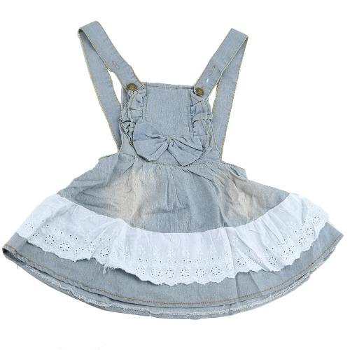 Bebé niñas general Vestido de mezclilla de moda Bowknot flores tirantes niños princesa vestido azul