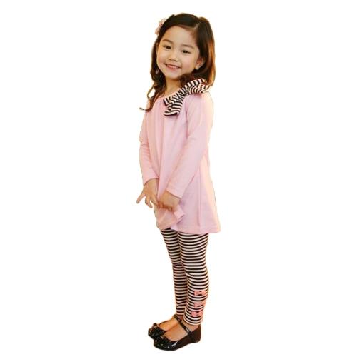 Nueva moda niños niñas ropa Set Bowknot Tops de Jersey a rayas pantalón rosado/azul oscuro
