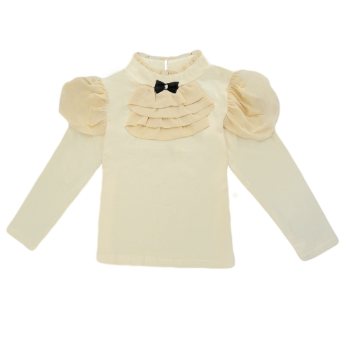 Moda niños algodón camiseta Bowknot cuello cuello volantes gasa de manga larga botón Casual t tapa de la muchacha