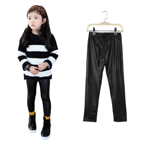 Nuevo niños niñas polainas elástico del Faux de la PU cuero cintura elástico pitillo pantalones negro