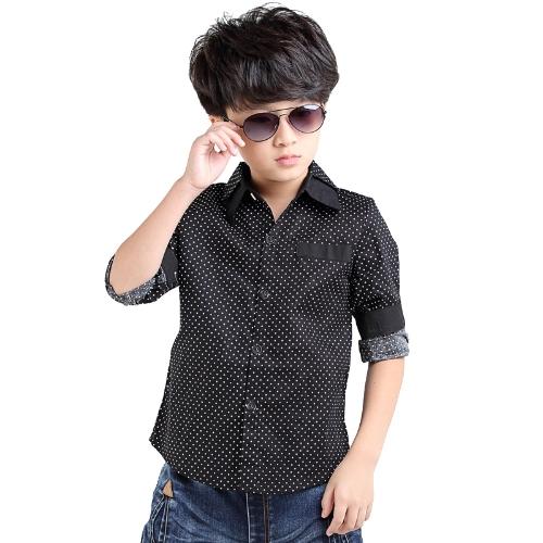 Nueva moda niños chicos camisa descubierta cuello manga larga Casual blusa lunares