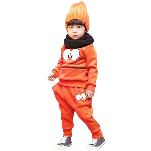 Lindo bebé niños niñas Unisex traje sonriente cara impresión cremallera bolsillo cuello O ropa deportiva Chandal verde/naranja