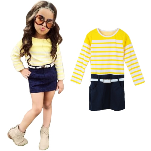 Moda niños niñas vestido Patchwork contraste a rayas de manga larga de una pieza Mini vestido amarillo