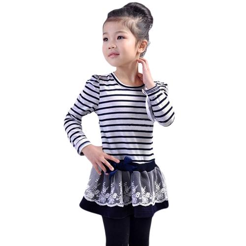 Crianças da menina vestido listrado plissado rendas Bowknot malha Floral gola redonda manga princesa vestidos escuridão azul/café