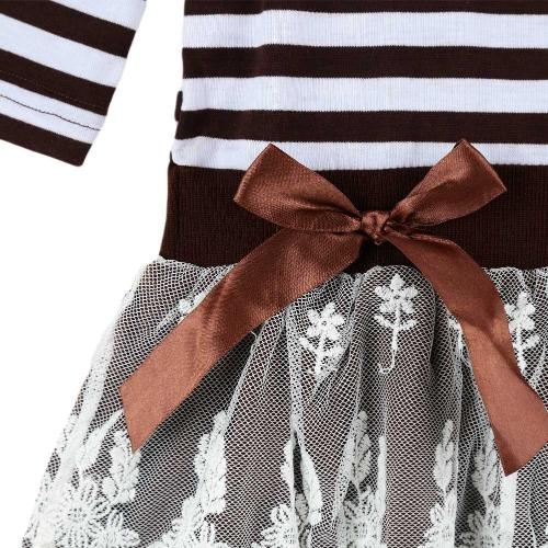 TOMTOP / Crianças da menina vestido listrado plissado rendas Bowknot malha Floral gola redonda manga princesa vestidos escuridão azul/café