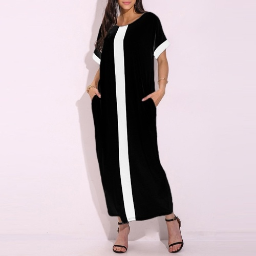 Second Hand Fashion Women Plus Size Contrast Panel T-Shirt Dress O Neck Short Sleeve Casual Loose Maxi Dress