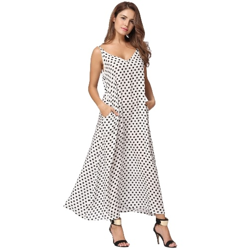Сексуальная женская одежда Polka Dot Версия для печати V Шея без рукавов Loose Maxi Long Beach Bohemian Vintage One-Piece