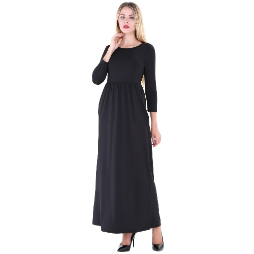 Second Hand Women Maxi Long Dress O Neck 3/4 Sleeves Pockets Elastic High Waist Solid Dress Vestidos Elegant Autumn