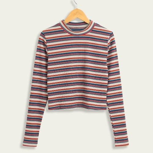 Maglioni pullover a righe con maniche lunghe a mano Pullover a coste con maniche lunghe a coste lavorate a maglia