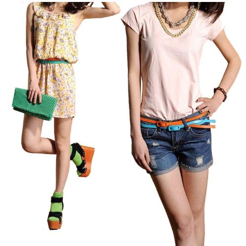 Moda mujeres chicas dulces colores correa ajustable de cintura baja estrecho cinturón delgado delgado PU cuero amarillo