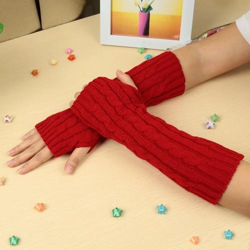 Moda invierno hombres mujeres guantes mitón cálido brazo Fingerless punto largo Unisex blanco