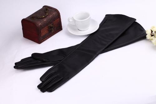 Moda las mujeres elegantes guantes PU suave brazo largo guantes de cuero negro guantes de fiesta de noche