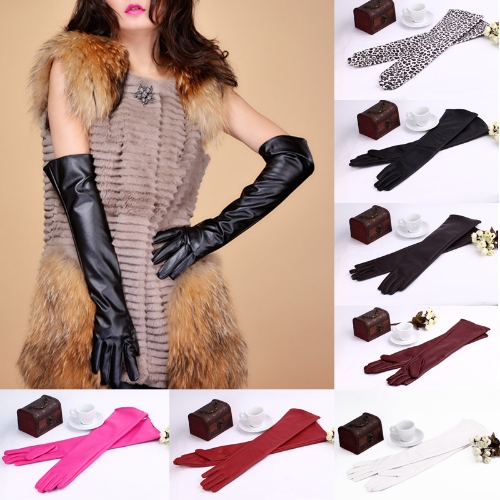 Image of Mode-elegante Damen Handschuhe weiche PU Leder Arm lange Handschuhe Abend Party Handschuhe Leopard