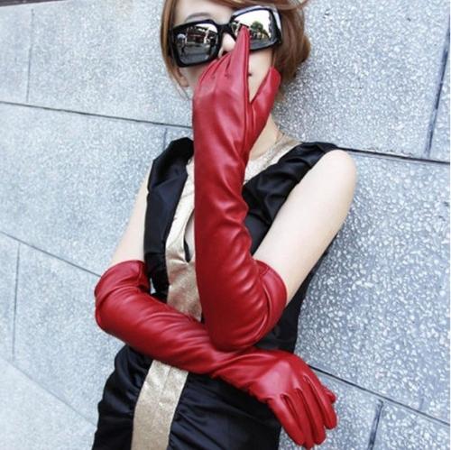 Moda las mujeres elegantes guantes PU suave brazo largo guantes de cuero guantes de fiesta rojo de noche