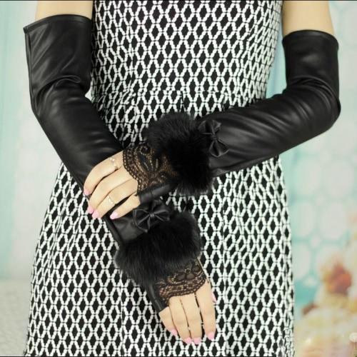 Fashion femmes mitaines dentelle boucle ceintures lapin fourrure mitaines gants Party en soirée