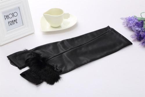 Fashion Women Fingerless Gloves Lace Buckle Belts Rabbit Fur Mittens Evening Party Gloves