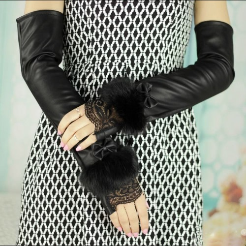 Moda mujer guantes Fingerless encaje hebilla cinturones conejo piel mitones guantes de fiesta de noche