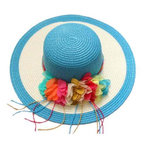 New Summer Women Straw Hat Wide Brim Colorful Flower Floppy Foldable Sun Beach Hat Headwear