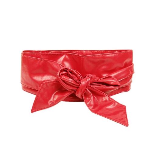 Fashion Women PU Leather Belt Wrap Around Tie Bowknot Wide Waistband Corset Cinch Band