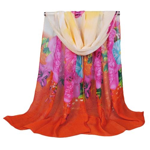 Moda mulheres lenço Chiffon Floral impressão xale longo fino Pashmina
