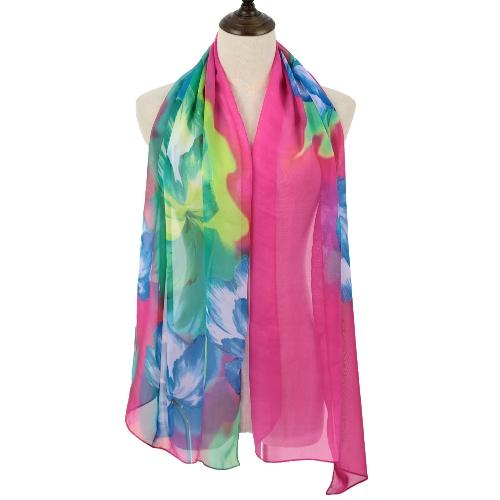 Nueva moda mujer la bufanda de Pashmina de Gasa Floral Print Color bloque largo muelle de contraste otoño