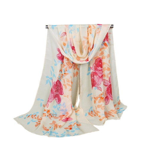 Moda donna sciarpa di Chiffon contrasto stampa floreale lungo scialle Pashmina