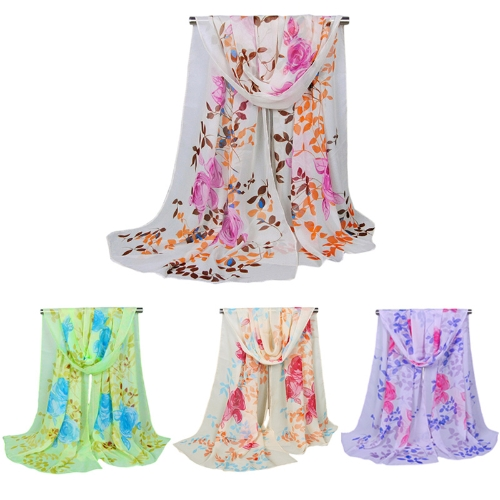 Image of Mode Frauen Chiffon Schal Kontrast Floral Print langer Schal Pashmina