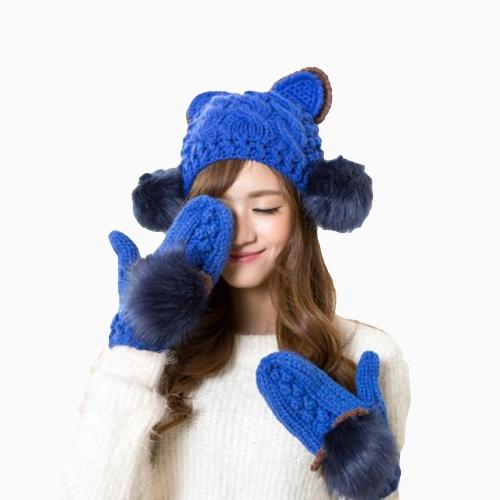 Nueva moda invierno mujer punto mitones contraste Color piel sintética gato orejas Guantes calientes