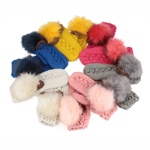 New Fashion Winter Women Knitted Mittens Contrast Color Faux Fur Cat Ears Warm Gloves