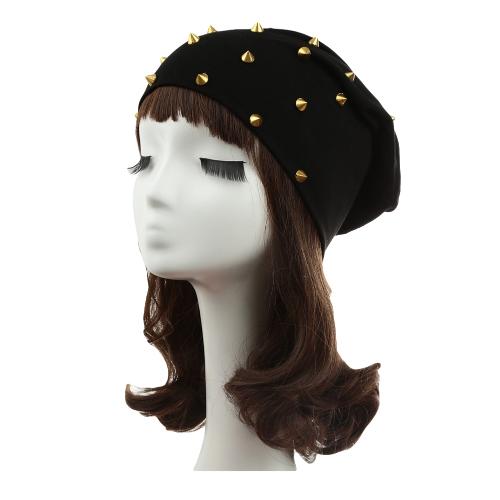 Nova moda unissex homens mulheres rebite decoração Design sólido hip-hop desleixo Headwear chapéu do Beanie