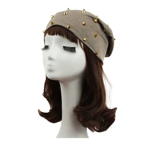 Nueva moda Unisex hombres mujeres remache decoración diseño sólido hip-hop gacho sombrero gorro