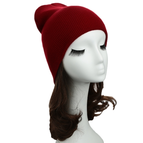 Новый унисекс женщин мужчины Beanie шляпа теплой хип-хоп прохладно Вязаная шапочка сплошной цвет для волос