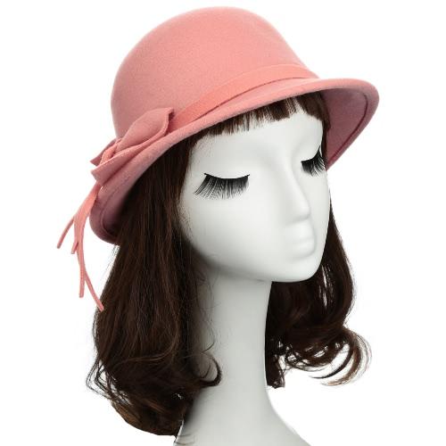 New Fashion Women Fedora Hat Bowknot Decoration Wool Felt Bowler Derby Hat Cap