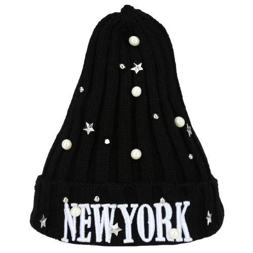 Nova Unisex mulheres homens Beanie chapéu carta bordado pérola estrela sólida quente hip-hop Cool de malha Cap Headwear
