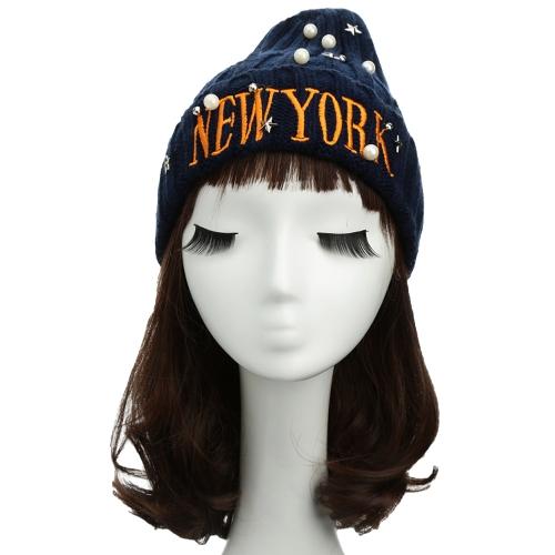 Nueva mujer Unisex hombres Beanie sombrero carta bordado perlas de estrellas sólido caliente hip-hop Cool punto tapa sombrero