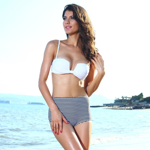 Sexy Women Bikini Set Push Up Padded Top Wave Stripes Pants Swimwear Swimsuit Beachwear Black&White
