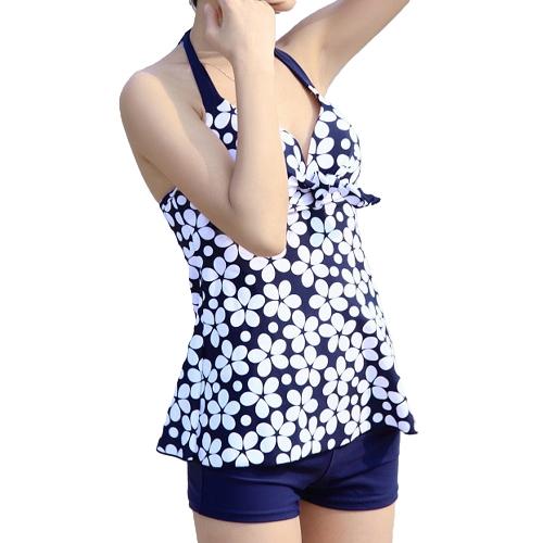 Sexy Women Swimwear Flower Print Czapka z daszkiem Kurtka push-up z kaleską Tankini Set Blue / Black