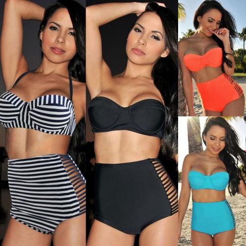 Sexy Women Bikini Set Push Up Padded Bandeau High Waist Cut Out Slits Panties Swimsuit Beachwear