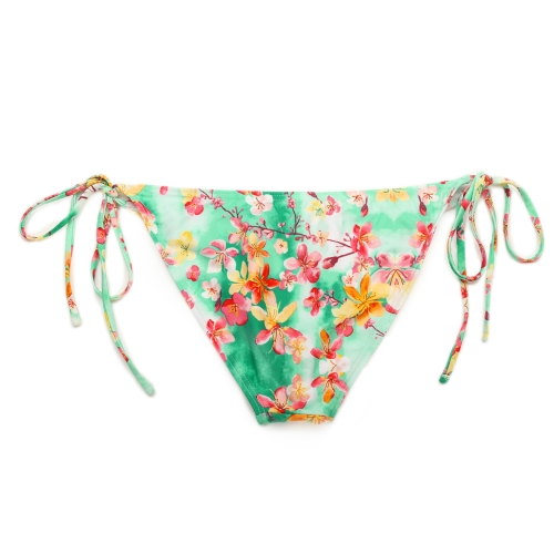 TOMTOP / Sexy Women Bikini Set Floral Print Triangle Padded Top Self-tie Swimwear Swimsuit Beachwear Green